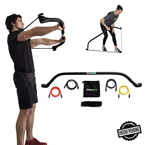 Gorilla Bow Home Gym Resistance Training Kit - Full Body Workouts - Adjustable Bands - Portable Equipment Set - Kickstarter Funded (Black)