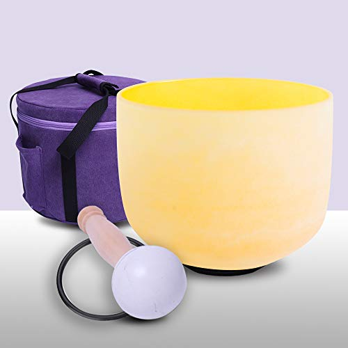 432Hz Perfect Pitch E Note Solar Plexus Chakra Yellow Colored Frosted Quartz Crystal Singing Bowl 10 Inch Carrier One Rubber Mallet And One O-Ring Included