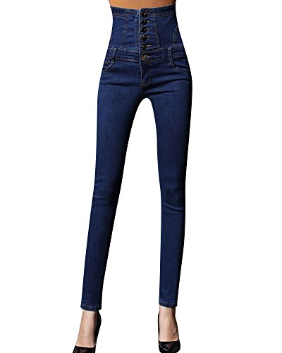 Cintura Alta Pantalones Jeans Mujer Elástico Flacos Vaqueros Push up Mezclilla Pantalones Azul L