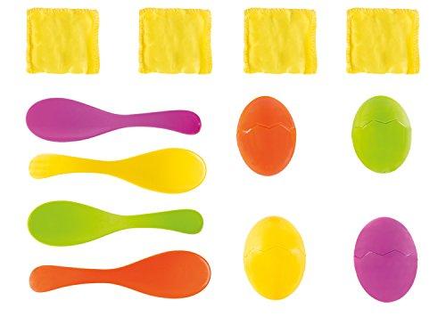 Idena 40074 Geschiktheidsspel eierlopen, met 4 eieren en 4 lepels, perfect voor binnen en buiten, feestjes en sportfeesten