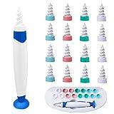 Q-Grips Limpia Oídos, kit limpiador para oídos, Limpiador de Cera de Oídos con Punta Suave en Espiral y 16 Puntas Remplazables de Silicona lavables Para la Higiene, Apto Para todas las Familias(azul)