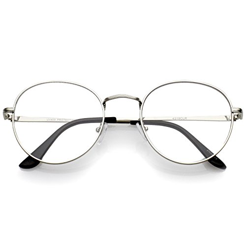 zeroUV - Classic Slim Metal Frame Clear Flat Lens Round Eyeglasses 52mm (Silver/Clear)