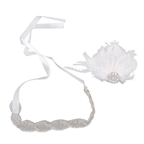 Bandeau Plumes Strass Hairband de Mariée pour Mariage - Blanc