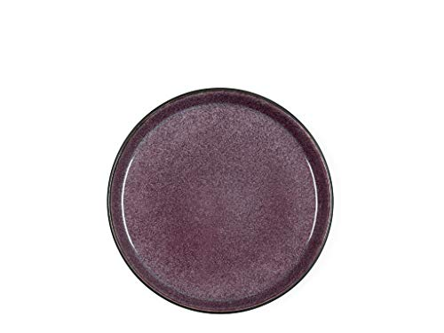 BITZ Teller, Kuchenteller, Dessertteller aus Steinzeug, 21 cm im Durchmesser, schwarz/lila