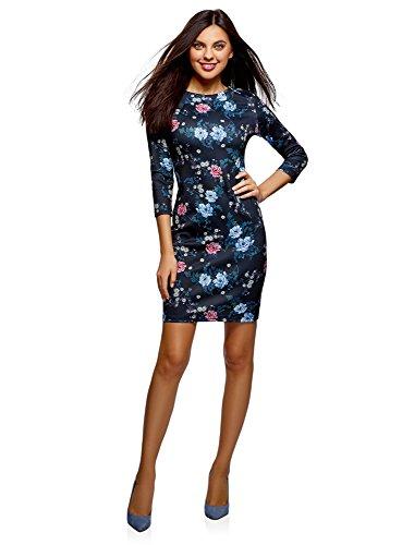 oodji Ultra Damen Enges Kleid mit Reißverschluss, Blau, DE 34 / EU 36 / XS