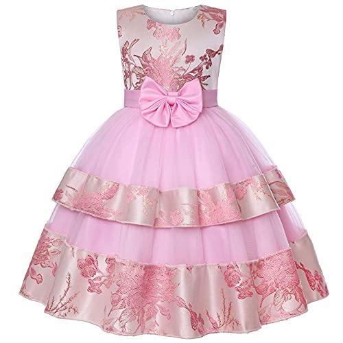 New front Verano Vestido de Princesa de Fiesta de Las Niñas Falda Bordado sin Mangas con Lazo Vestido de Tul Elegante Vintage para Vestir a Boda Dama de Honor 3-12 año