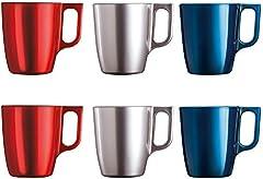 Luminarc Flashy Set 6 tazas desayuno mugs café de vidrio con asa para microondas 25cl, Negro