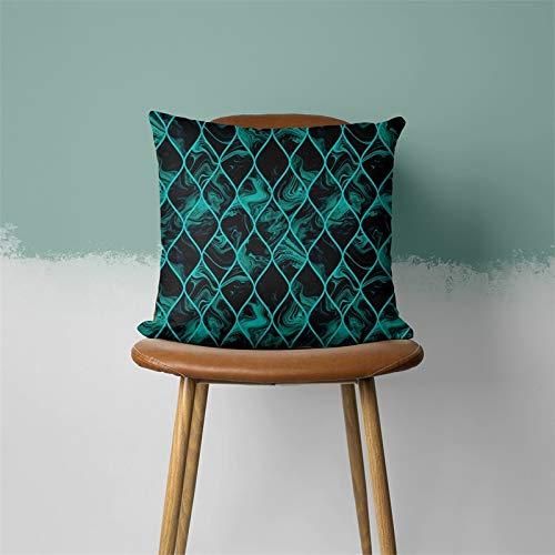 PPMP Funda de cojín Verde Azul Hoja Pluma geométrica en Forma de corazón sofá Funda de Almohada Dormitorio decoración del hogar Funda de cojín A18 45x45cm 1pc