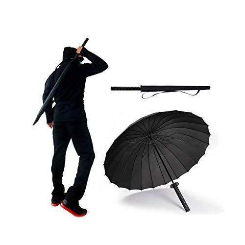 ADM6 Katana Regenschirm, Herren Regenschirm, 24 Glasfaser Ribs, Automatisch und leicht, Super Wasserabweisende UV-Schutz Aufbewahrungstasche inklusive