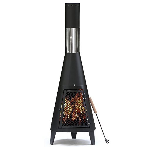 Outdoortips 120cm Outdoor Garden Metal Chimenea Heater Chimney Log Wood Burner Fire Pit
