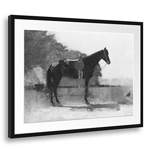 Printed Paintings Passepartout (80x60cm): Winslow Homer - Caballo de Silla de Montar en el Patio de la Granja