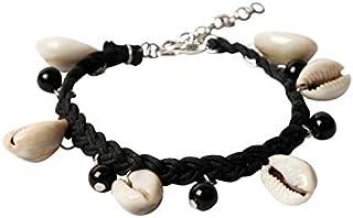THE BLING STORES Black Thread Cowrie Shell Adjustable Bracelet for Men and Women