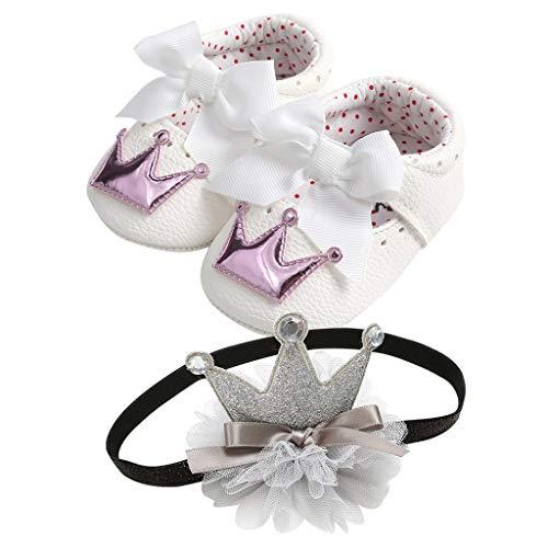 TTLOVE Baby Mädchen Schön Prinzessin Schuhe,Sequins Bowknot Mode Lederner Schuh-Turnschuh Anti-Rutsch Weiches Baby Schuhe + Haarband Für 0-18 Monate(Lila,10 EU)