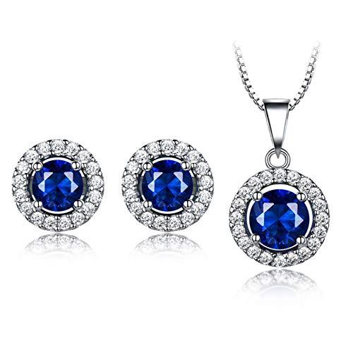 Daesar Womens Necklace Earring Set Sterling Silver Round Blue Cubic Zirconia Jewelry Set Women