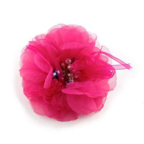 Rougecaramel – Broche o pinza para el pelo de flor de tela muselina 10,5 cm – fucsia
