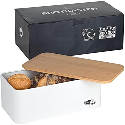 Chefarone Brotkasten Schneidebrett und Deckel in einem - Brotbox mit Lüftungslöchern für langanhaltend frisches Brot - Brotaufbewahrung Brot und Gebäck - Bambusdeckel robust - 42 x 22,5 x 15,5 cm
