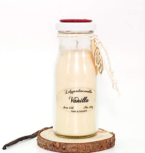 Lilygardencandles geurkaars in vanille geur in de milk Bottle small sojawas kaars met een brandtijd van 44+ uur