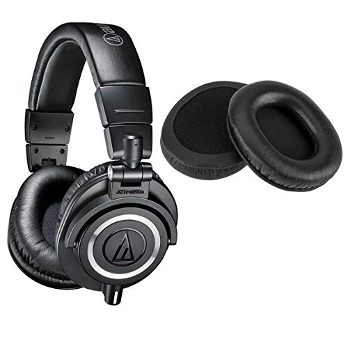 Audio-Technica ATH-M50x Professional Monitor Headphones, Black - with with H&A Genuine Sheepskin Leather Earpads