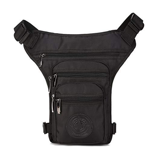 Xieben Riñonera para muslos y cintura para hombres y mujeres, bolsa de mensajero táctica militar para montar en motocicleta al aire libre (negro)