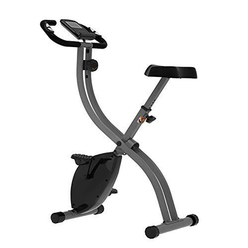 TriGold Plegable Bicicleta De Ejercicio,Bicicleta De Ejercicio Magnético Estacionaria con Resistencia Ajustable,Interior Bicicleta Bicicleta para El Uso Doméstico De Mujer Hombre-Negro