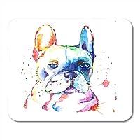 マウスパッド犬フレンチブルドッグオリジナル水彩筋肉子犬動物コンパニオンラップトップ用マウスパッド、デスクトップコンピュータアクセサリーミニオフィス用品マウスマット