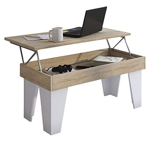 Comfort Home Innovation - Tavolino sollevabile, Sala da Pranzo, Modello KL, Rovere Chiaro - Bianco Opaco, Misure 92x50x45/57 cm di Altezza