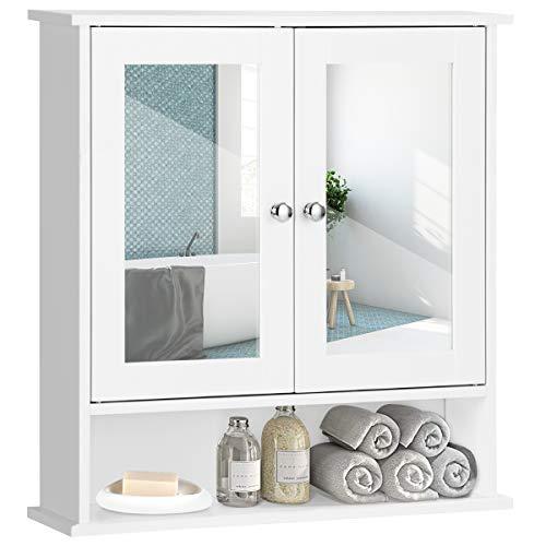 GOPLUS Spiegelschrank Badschrank Badezimmerspiegelschrank mit Zwei Türen, Wandschrank Bad, Hängeschrank weiß 58,5 x 56,5 x 13,5 cm