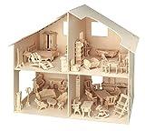 Holzbausatz 3D Puzzle Puppenhaus mit Möbeln