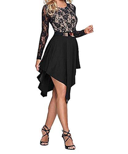 Ovender - Vestido de mujer elegante, vestido de ceremonia, corto, para niña, estilo imperio, elegante, para fiesta, boda, dama de honor