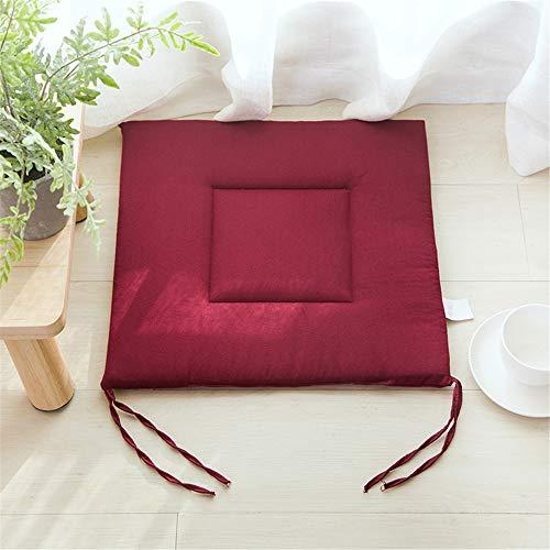 LucaSng Stuhlkissen 4er Set - Bequemes Sitzkissen für Stühle 40x40x2.5 cm - Mit Befestigungsschleife für Indoor und Outdoor (Wein rot)