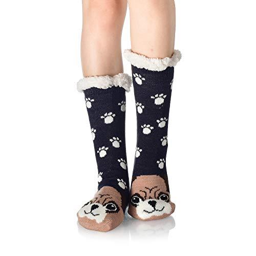 WYTartist Damen Hausschuhe Socken super weich und warm Fleece gefüttert Socken Streifen niedliche Tiere Winter Socken für Frauen und Mädchen Gr. One size, hund