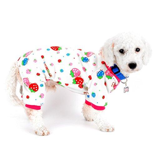 ZUNEA Hunde-Outfit für den Innenbereich, mit Fleece gefüttert, Erdbeer-Motiv, für kleine Hunde, Wintermantel für Haustiere, Pitbull, Dackel, Chihuahua, Yorkie, Kleider, XXL