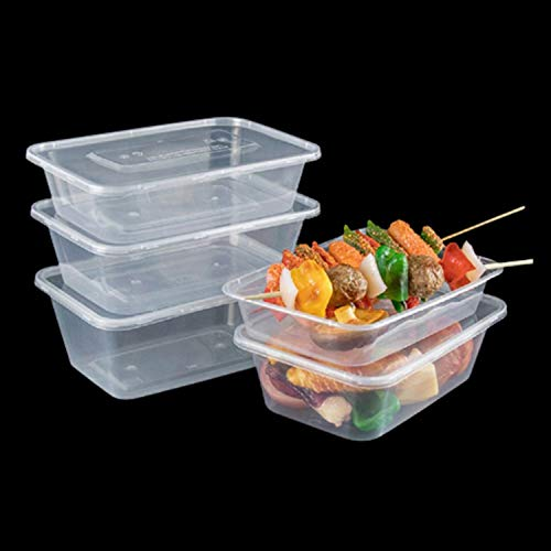 Click Pack Deliver, Pack of 10 – 500ml Takeaway Plastic Food Containers with Lids, These Boxes are Ideal for Microwave Use, Meal Prep and Freezer Storage (10, 500ml - 170x115x35 (mm))