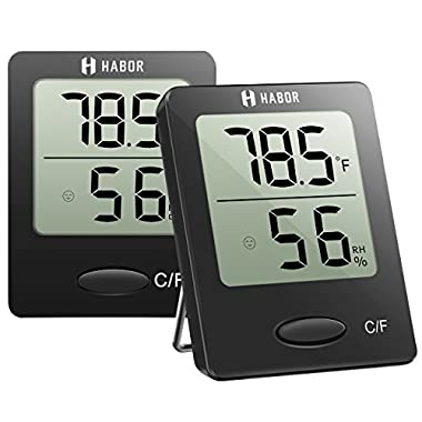Habor 2 Pack Digital Hygrometer Indoor Thermometer, High Accuracy Temperature Monitor with Humidity Gauge Indicator for Room House Greenhouse Kitchen, Mini Black