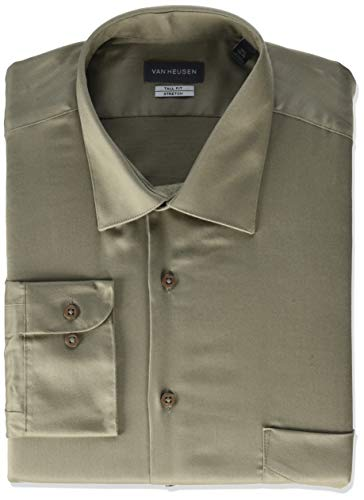 Van Heusen mens Size Fit Lux Sateen Stretch Solid (Big and Tall) Dress Shirt, Chino, 17.5 Neck 35 -36 Sleeve X-Large US