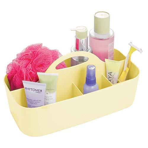 mDesign badkamer mand met handgreep - geschikt als cosmetica-organizer, keuken opbergdoos of handdoekhouder - kleine badkamer box met zes vakken