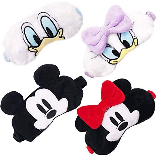 Mickey Augenmaske - YUESEN 4 Stück Plüsch Schlafmaske Atmungsaktive Augenmaske für Damen Mädchen Schlafmaske niedliches Mickey Cartoon Tier Druck lichtblockierende Abdeckung