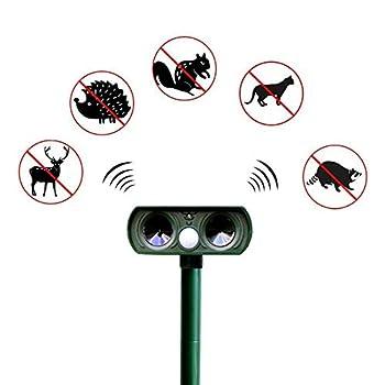 TOOSDrepellent Répulsif Anti-Moustique de Chat Animal Solaire, répulsif ultrasonique de Jardin de Chat et de Chien dissuasif Anti-Moustique Actif imperméable