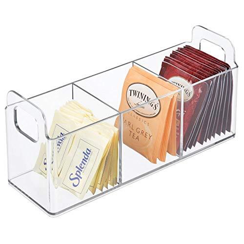mDesign Organizador de cocina con asas – Práctica caja de té con 3 compartimentos para cocina y despensa – Cesta de plástico para guardar té, endulzantes, café y otros alimentos – transparente