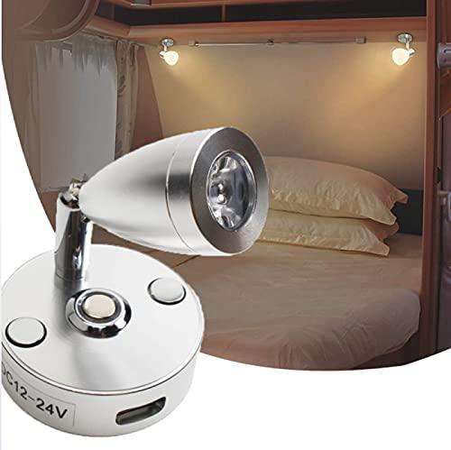 Lámpara de lectura RV de 12 V con interruptor táctil, 3 regulables, luz blanca normal, luz blanca Datural, diseñada para leer, luz de noche, barco, yate y caravana