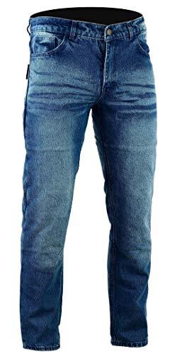 Bikers Gear Australia Kevlar Lined–Pantalones vaqueros para motorista CE protección, Azul (Stone Wash Denim), tamaño 32R