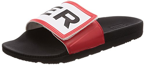 Hunter Original Mujer Negro Adjustable Logo Pool Slides-UK 7