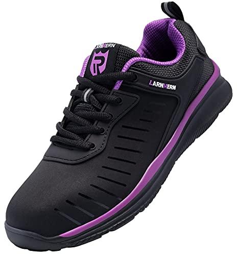 LARNMERN Zapatos de Seguridad Hombre Mujer con Punta de Acero Ligero Transpirable Cómodo Zapatillas Calzado Verano Invierno Trabajo 39 EU Negro Púrpura