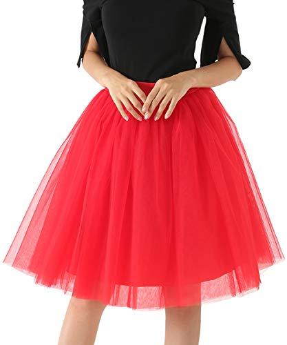 Happy Cherry - Falda de Tul para Mujer para Verano Tutú Corto de Capas Faldas Princesas Vestido Ballet para Carnaval Disfraces Boda Noche Fiesta