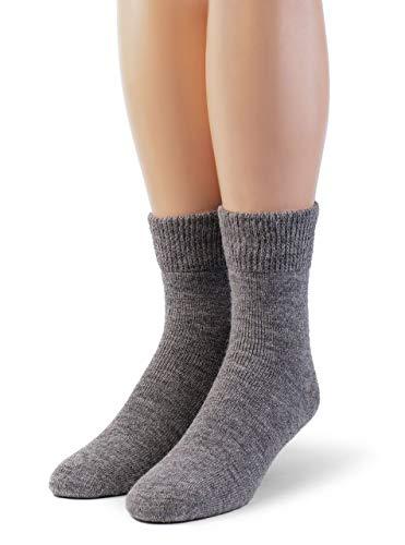 Warrior Alpaka Socken - Damen Outdoor Alpakawolle Socken Frottee gefüttert mit Komfortband Öffnung -  Grau -  Large
