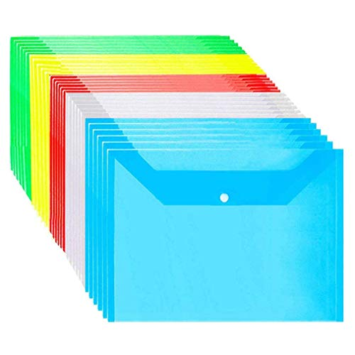 25 Pack Plastic Wallet A4 Folders Wallets Plastic Document Popper Files Wallets for Office Supplies