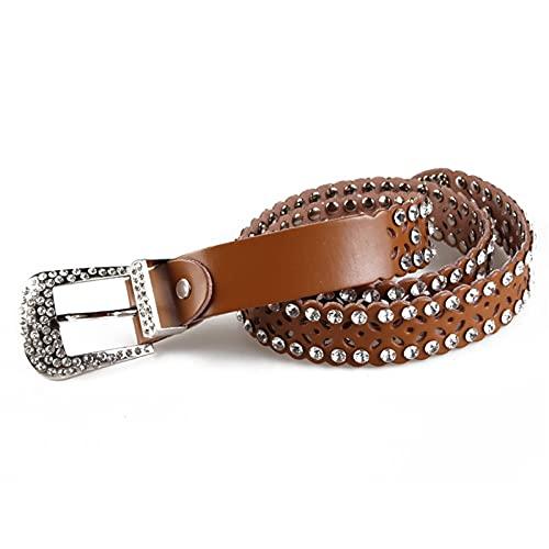 Cinturón de piel con Tachuelas Punk Cinturón con Diamante Mujer con Incrustaciones de Diamantes de Imitación