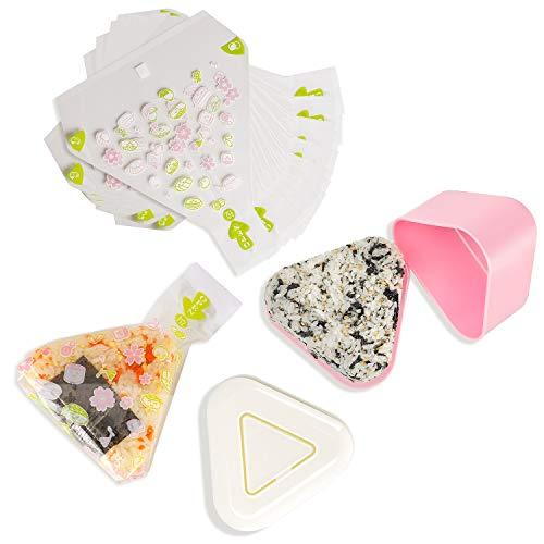 ChasBete Set mit 2 dreieckigen Sushi-Formen Drücken Sie + 100 Einweg-Onigiri-Taschen + Aufkleber für Nigiri Rice Ball Bento Maker
