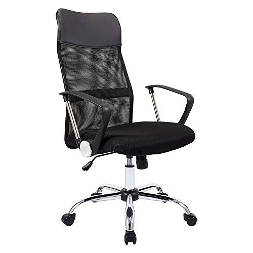 CO-Z Ergonomic High Back Mesh Office Chair | Wheeled Desk Chair with Adjustable Height & Curved Back Support for Office, Study, Bedroom | 360 Swivel Gaming Chair for Adults, 150kg Capacity, Black