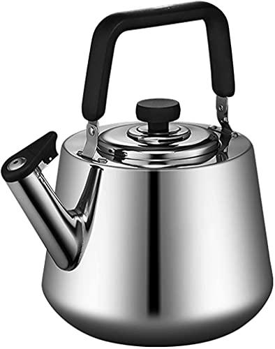 Tetera de Silbato de Acero Inoxidable Plateado de 4-5L, con hervidor de té para presionar Oficina de Restaurante Adecuada, AA